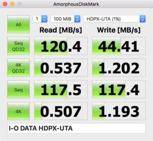 ポータブルHDD HDPX-UTC1K Format HFS+ 100MB