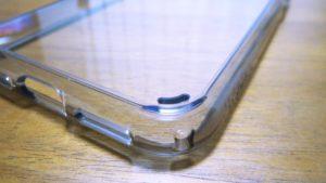 iPhoneX-Spigen-Hybrid-ClearCase裏面パネルの張り付き防止エア抜き穴