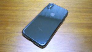 iPhoneX-Spigen-Hybrid-ClearCaseiPhoneX Sグレーを装着