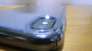 iPhoneX-Spigen-Hybrid-ClearCaseiPhoneX バックパネル四隅のガード